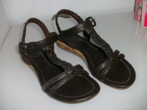 Esprit Platform High-Heeled Sandal dark brown-brown leather