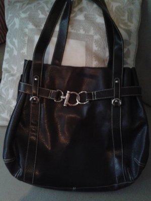 Hallhuber Handbag silver-colored-dark brown