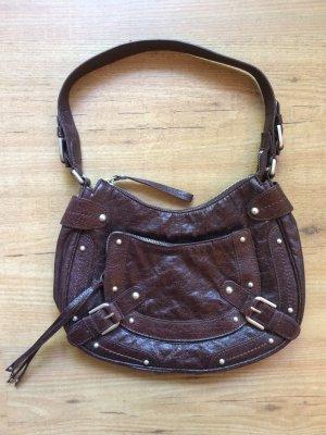 Dunkelbraune Handtasche im Used-Look