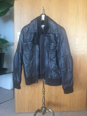 Only Faux Leather Jacket dark brown