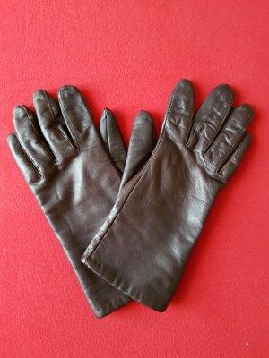 Gants en cuir brun foncé cuir