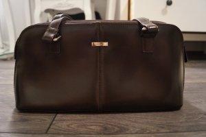 Dunkelbraune Lederhandtasche