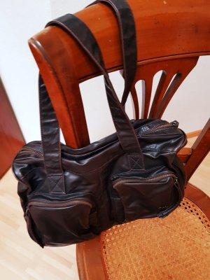 dunkelbraune Lederhandtasche von EDC