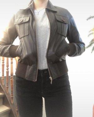 Dunkelbraune Lederjacke aus echten Leder!