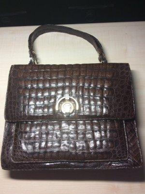 Dunkelbraune Vintage Krokodilleder Handtasche