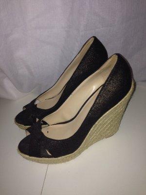 Mango Platform Sandals black brown-gold-colored