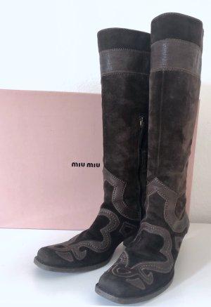 Miu Miu Stivale western marrone scuro Pelle