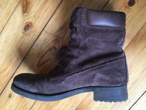 Dunkelbraune Wildleder Boots