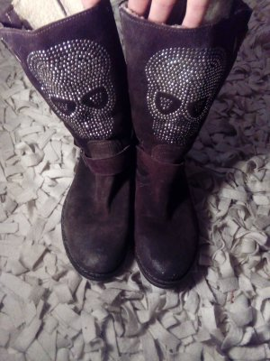 Dunkelbraune Wildleder Schuhe mit Totenkopf in Gr.40 (fällt etwas kleiner aus)