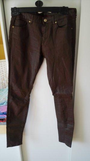 Dunkelbraune Zara Röhrenhose mit Coating Größe 38 M