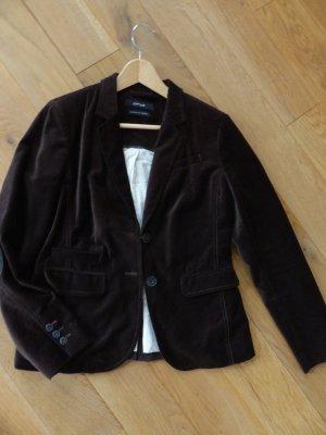 dunkelbrauner Blazer aus samtähnlicher Baumwolle