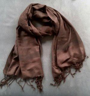 dunkelbrauner großer Schal mit Fransen