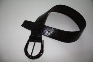 dunkelbrauner Ledergürtel in Krokolederoptik von Post&Co.