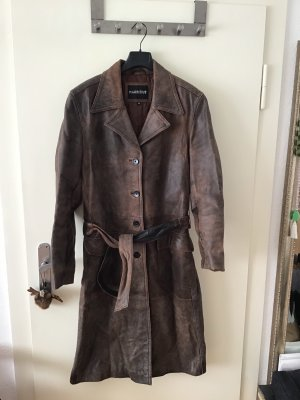 Mauritius Abrigo de cuero marrón oscuro