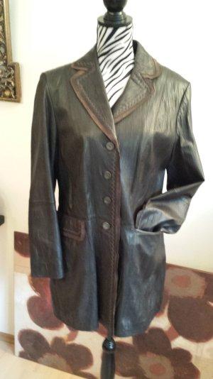 Gerry Weber Abrigo de cuero marrón-negro-rojo amarronado