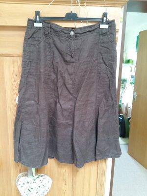 H&M Falda de lino marrón oscuro