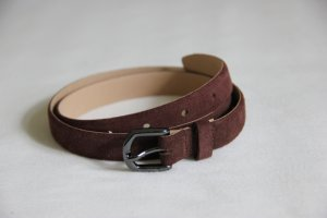 Dunkelbrauner Wildleder-Gürtel mit anthrazitfarbener Schnalle - keine Gebrauchsspuren