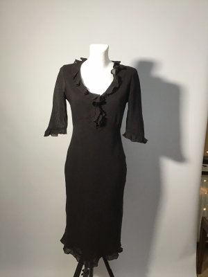 Zara Vestido a media pierna marrón oscuro-marrón-negro