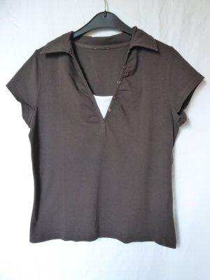 Dunkelbraunes T-Shirt mit Kragen