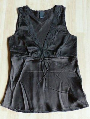 dunkelbraunes Vero Moda Shirt in Glanzoptik mit V-Ausschnitt und Spitze
