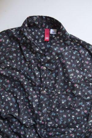 Dunkelgrau geblühmte Hemdbluse