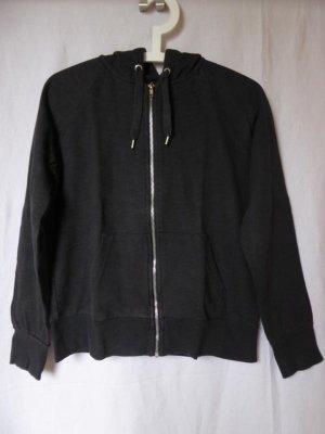 Dunkelgrau-schwarze Sweat-Jacke mit Kapuze von H&M