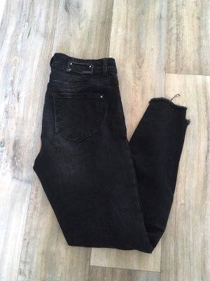 dunkelgraue High Waist 7/8 Jeans - Gr. 27/30