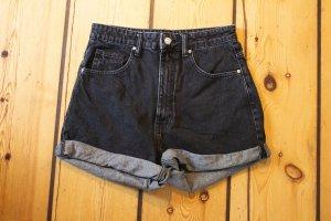 Zara High-Waist-Shorts dark grey-grey cotton