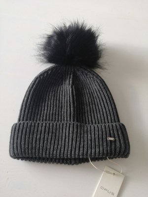 dunkelgraue Mütze aus Strick mit Bommel von Opus -neu- Amola Cap