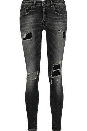 Dunkelgraue R13 Jeans im Destroy-Look