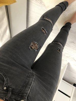 H&M Pantalon cigarette gris foncé