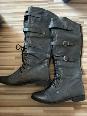 Botas con cordones gris oscuro-gris antracita