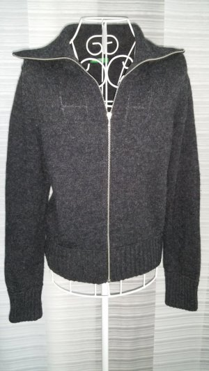 Dunkelgraue Strickjacke Benetton