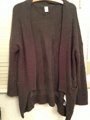Dunkelgraue Strickjacke Materialmix Gr. S