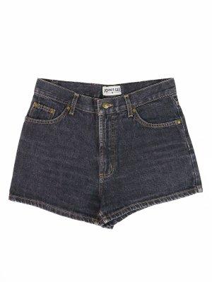 Dunkelgraue Vintage High-Waist Jeans Shorts 38
