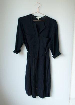 dunkelgraues Blusenkleid fast schwarz H&M Hemdkleid Kleid 42 Tunika