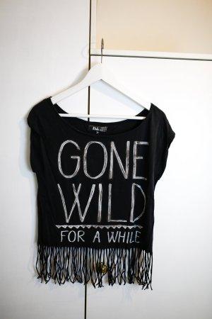 Dunkelgraues Hippie T-Shirt mit Aufdruck