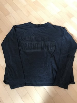 Dunkelgraues Langarm Shirt mit Druck von Zara