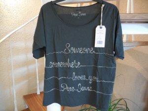 Dunkelgraues Shirt mit beiger Statementstickerei von Pepe Jeans NEU MIT ETIKETT!