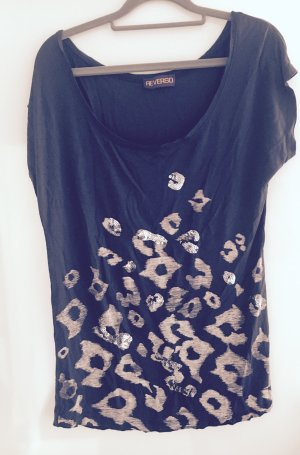 Dunkelgraues Shirt mit Leoprint und Pailletten