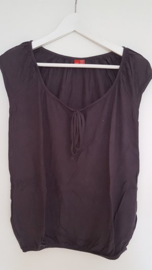 Dunkelgraues Shirt von Esprit mit Schleife, Größe XS