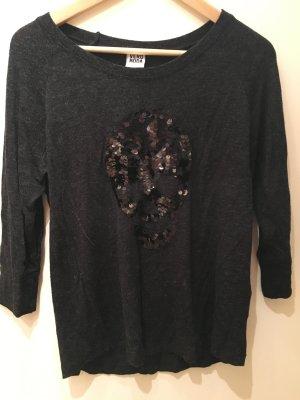 Dunkelgraues Sweatshirt mit schwarzem Paillettentotenkopf