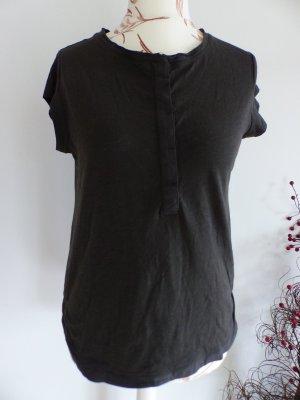 dunkelgraues T-Shirt mit Knopfleiste von Esprit