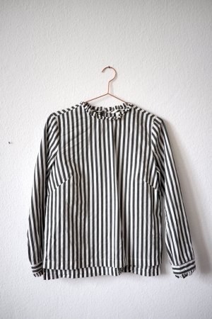 Dunkelgrün/weiß-gestreifte Bluse von H&M in Größe 38