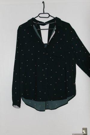 Dunkelgrüne Bluse mit Punktemuster