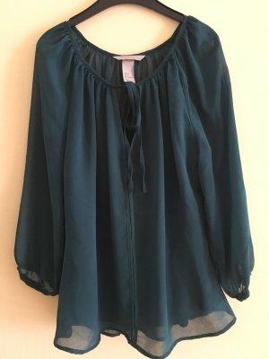 Dunkelgrüne Bluse mit transparenten Ärmeln