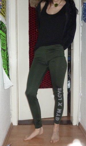 dunkelgrüne Even&Odd Active Gym Love Leggins