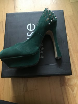 Dunkelgrüne extravagante High Heels