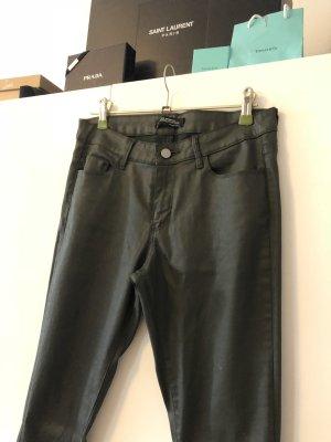 Zara Pantalon en cuir vert foncé