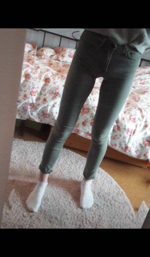 Dunkelgrüne hight waist Skinny Jeans